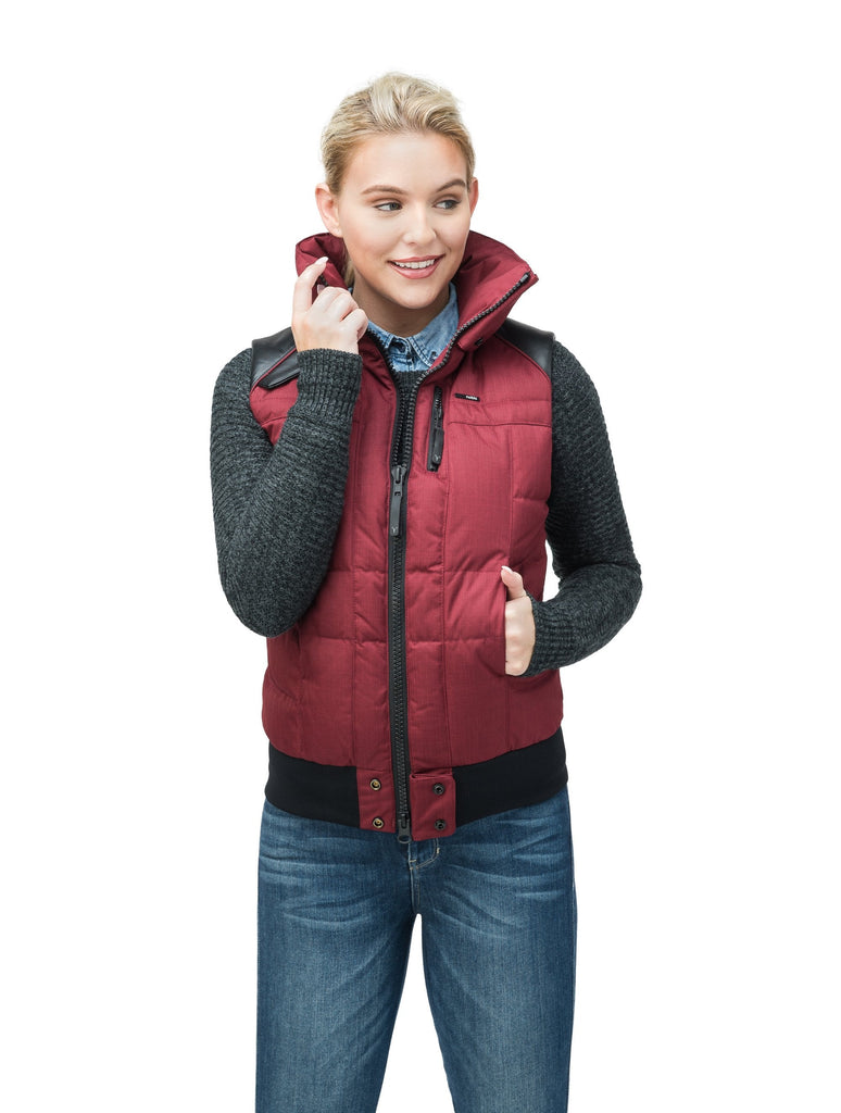 Women's puffer vest with quilting detail in CH Cabernet