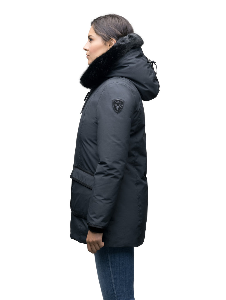 Women's hip length down parka with tonal fur trim in Cy Black