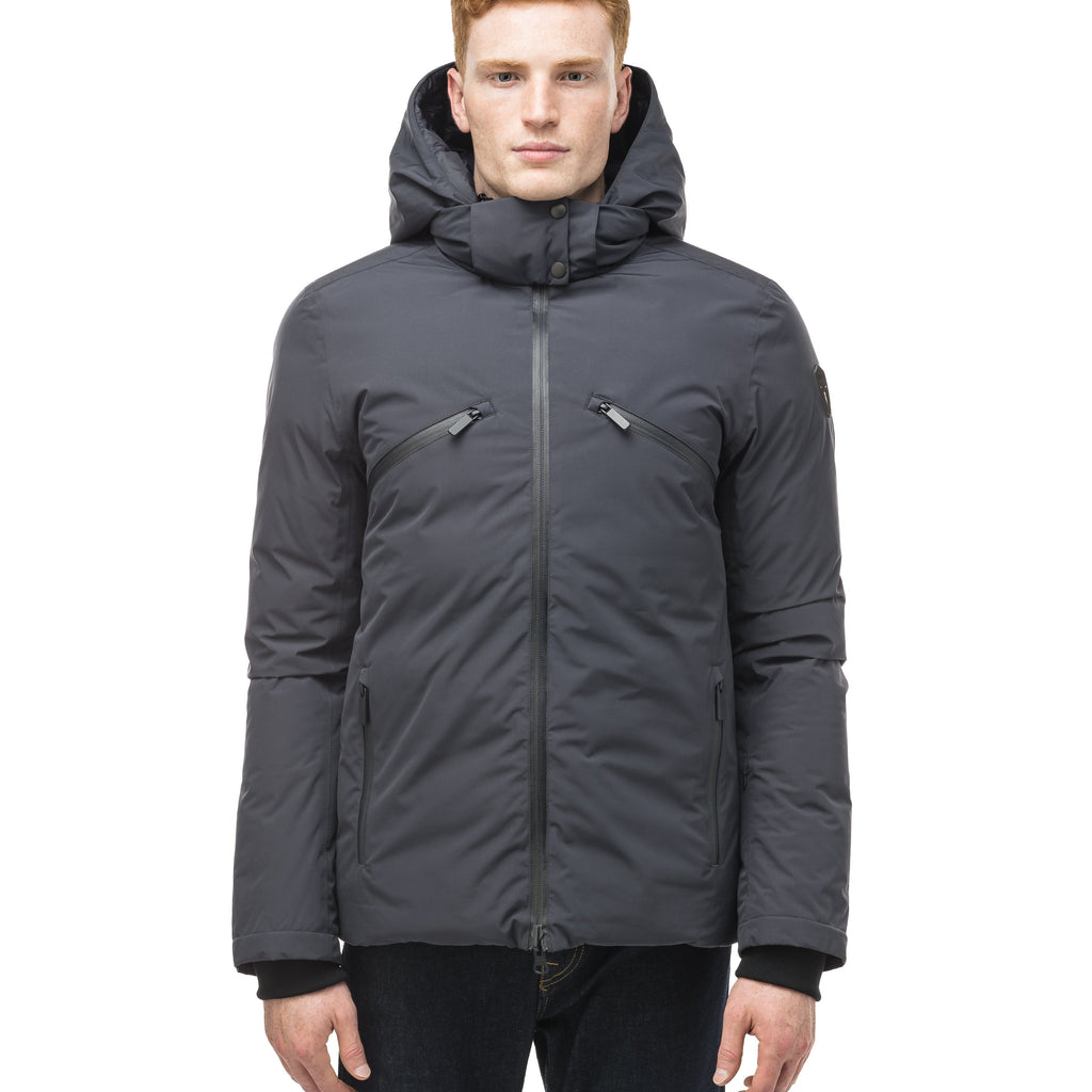 Hip length, reversible men's down filled jacket with removable hood in Marine