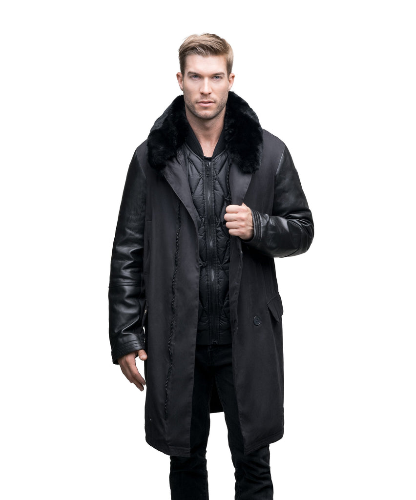 Men's down filled coat with machine washable leather sleeves, removable liner, and Rex Rabbit fur ruff in Black