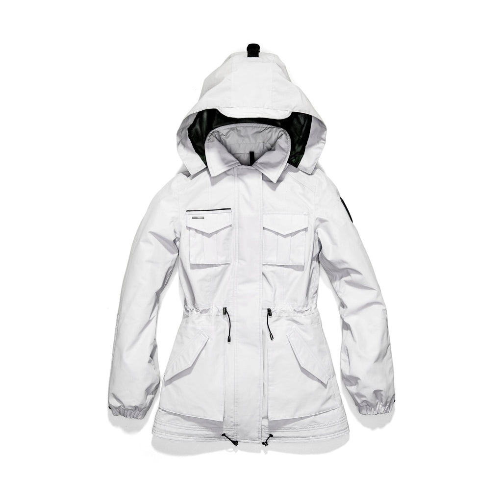 Women's hooded shirt jacket with four front pockets and adjustable waist in Light Grey