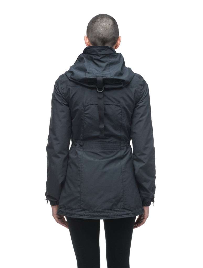 Women's hooded shirt jacket with four front pockets and adjustable waist in Black