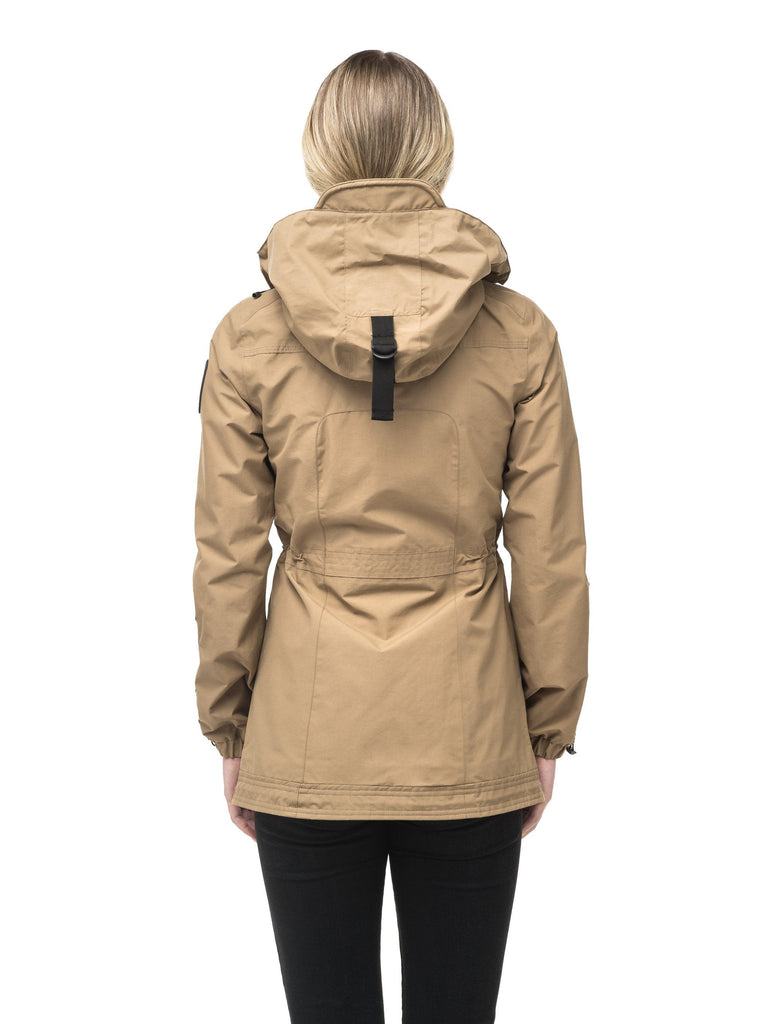 Women's hooded shirt jacket with four front pockets and adjustable waist in Cork