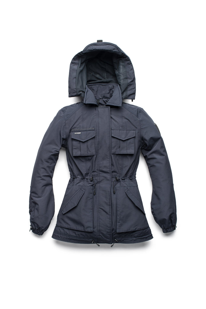 Women's hooded shirt jacket with four front pockets and adjustable waist in Navy