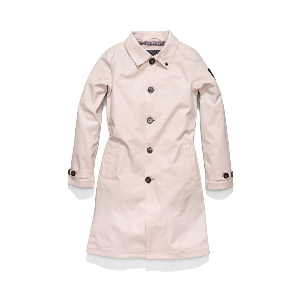 Women's thigh length Mackintosh jacket in Dusty Rose