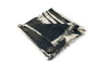 Square modal cashmere blend scarf with fringe edges in a contrast Black print