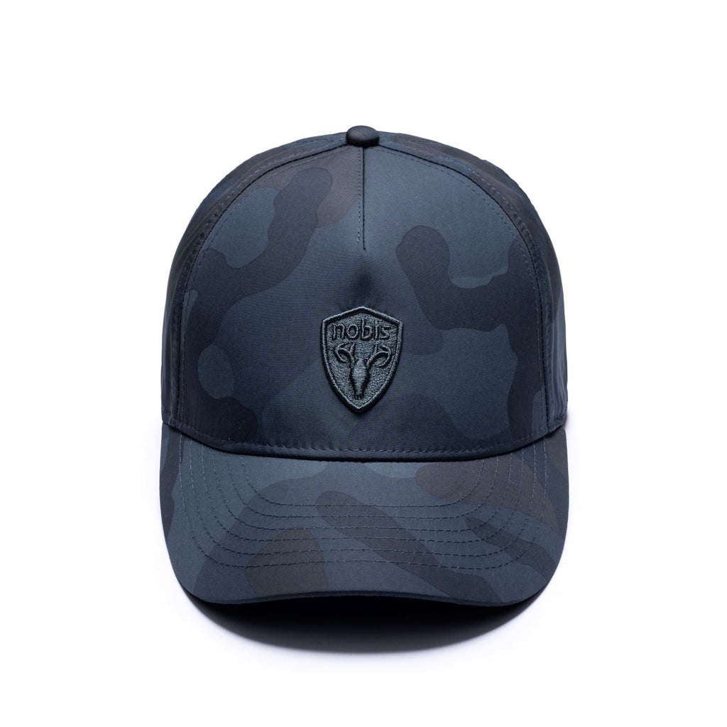 Five panel baseball hat with adjustable back in Navy Camo