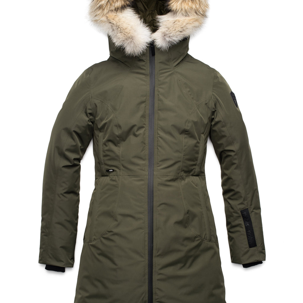 Ladies thigh length down-filled parka with non-removable hood and removable coyote fur trim in Fatigue