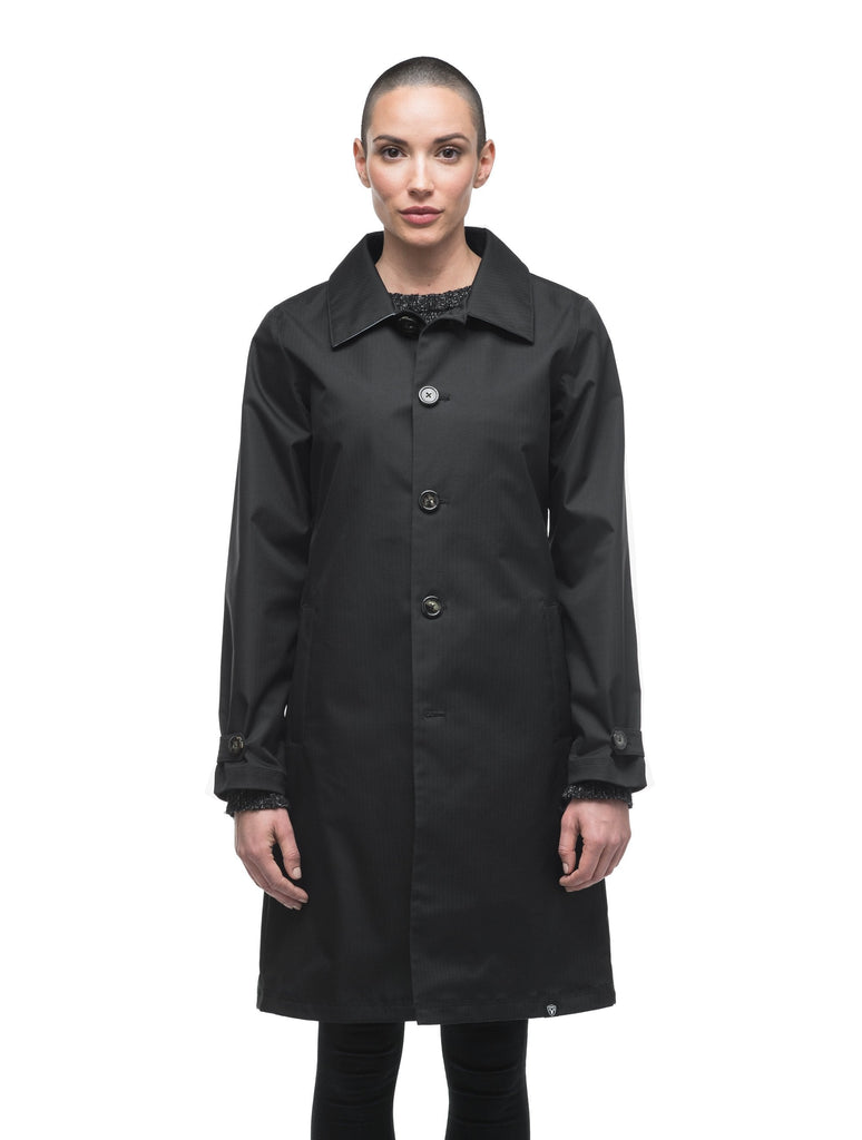 Women's thigh length Mackintosh jacket in Black
