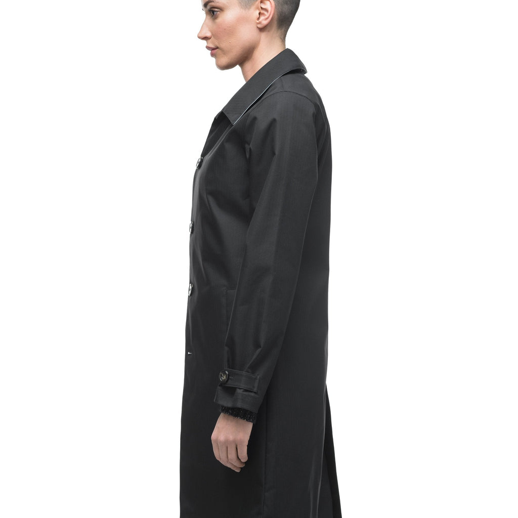 Women's thigh length Mackintosh jacket in Black, Camel, or Dusty Rose