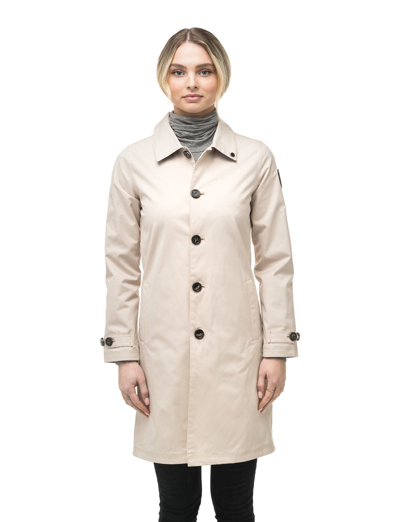 Women's thigh length Mackintosh jacket in Camel