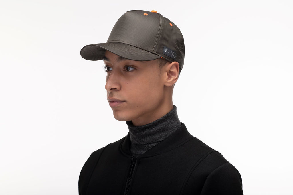 Unisex 5 panel baseball cap with adjustable back and contrast colour detailing in Dusty Olive