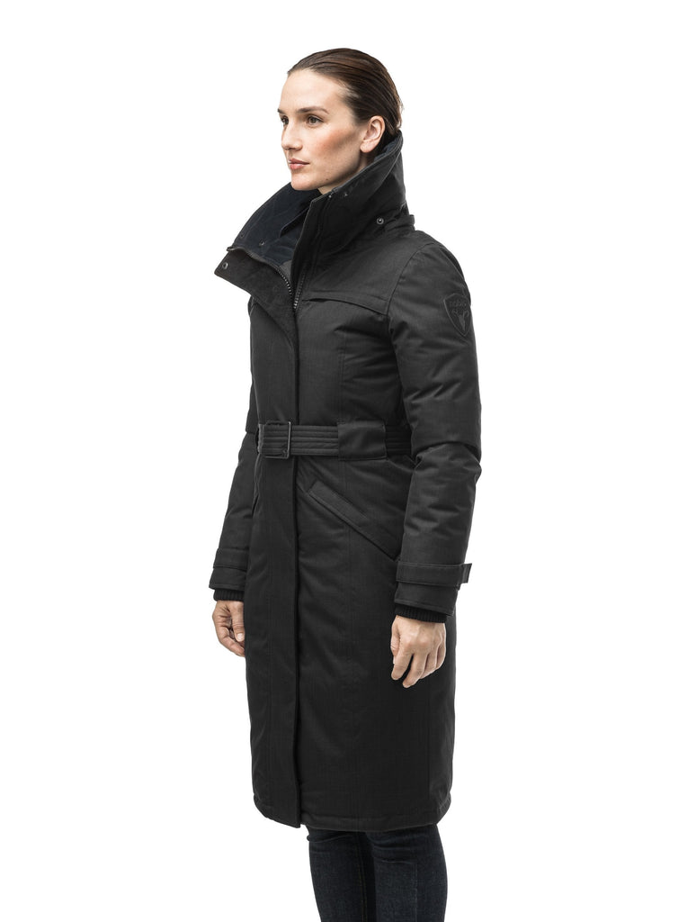 Women's knee length down filled parka with a belted waist and fully removable Coyote and Rex Rabbit fur ruffs in CH Black