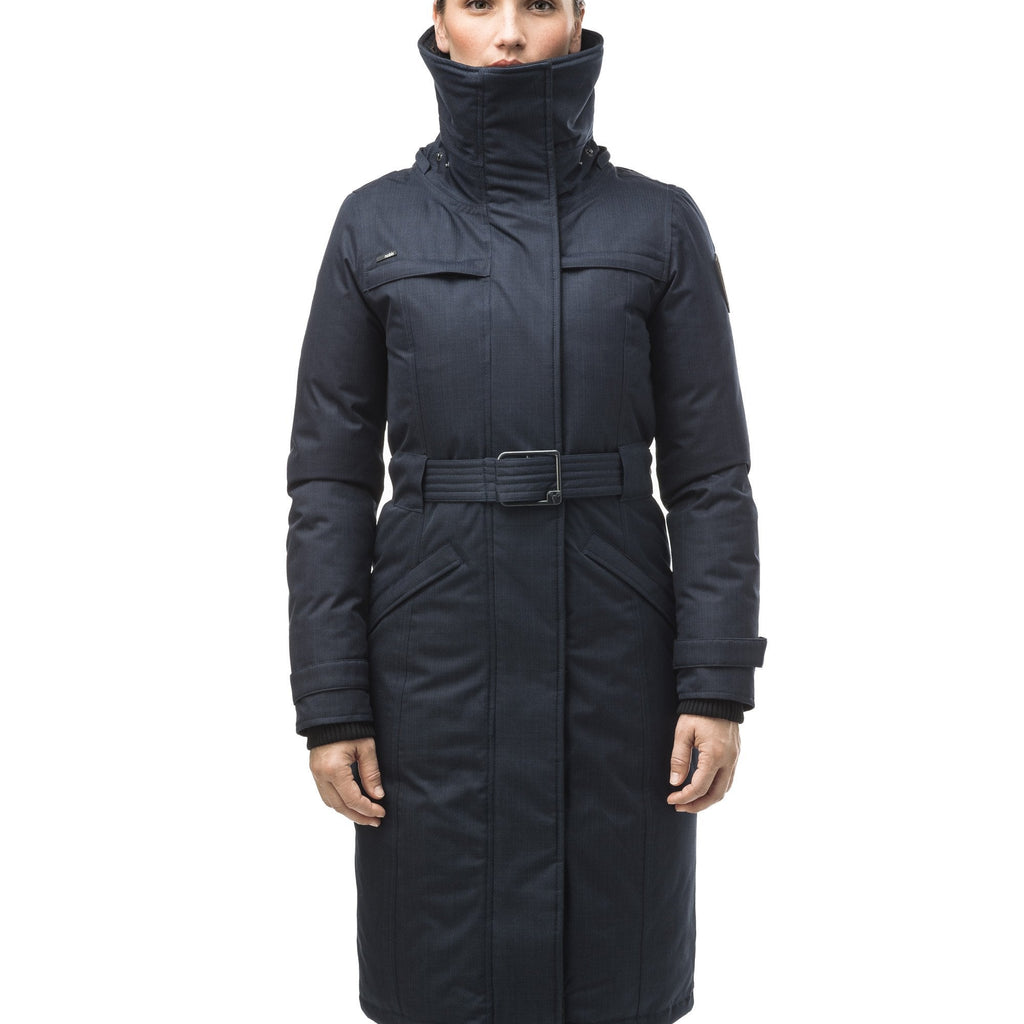 Women's knee length down filled parka with a belted waist and fully removable Coyote and Rex Rabbit fur ruffs in CH Navy