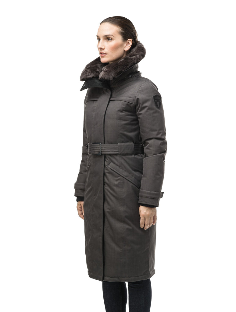 Women's knee length down filled parka with a belted waist and fully removable Coyote and Rex Rabbit fur ruffs in CH Steel Grey