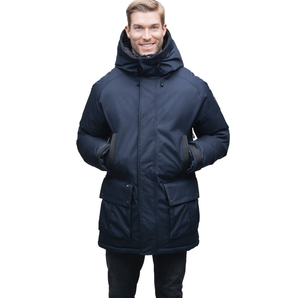 A classic men's bomber jacket with luxurious Rex Rabbit fur ruff trim in CH Navy