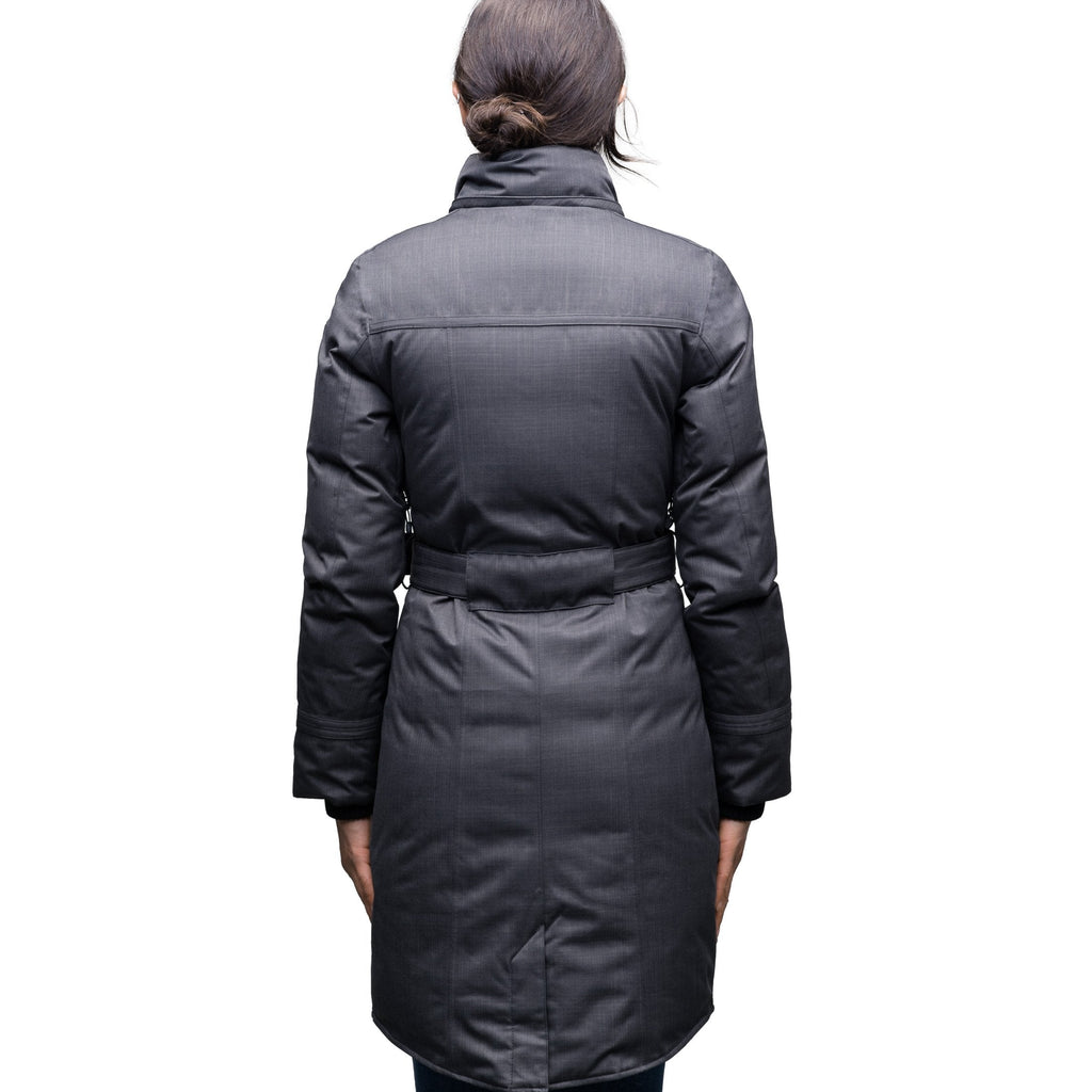 Women's down filled calf length parka with belted waist, and removable Rex Rabbit fur collar in CH Steel Grey