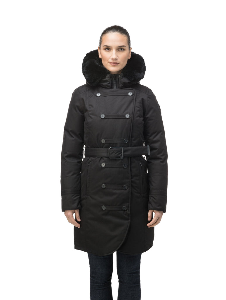 Women's down filled calf length parka with belted waist, and removable Rex Rabbit fur collar in CH Black