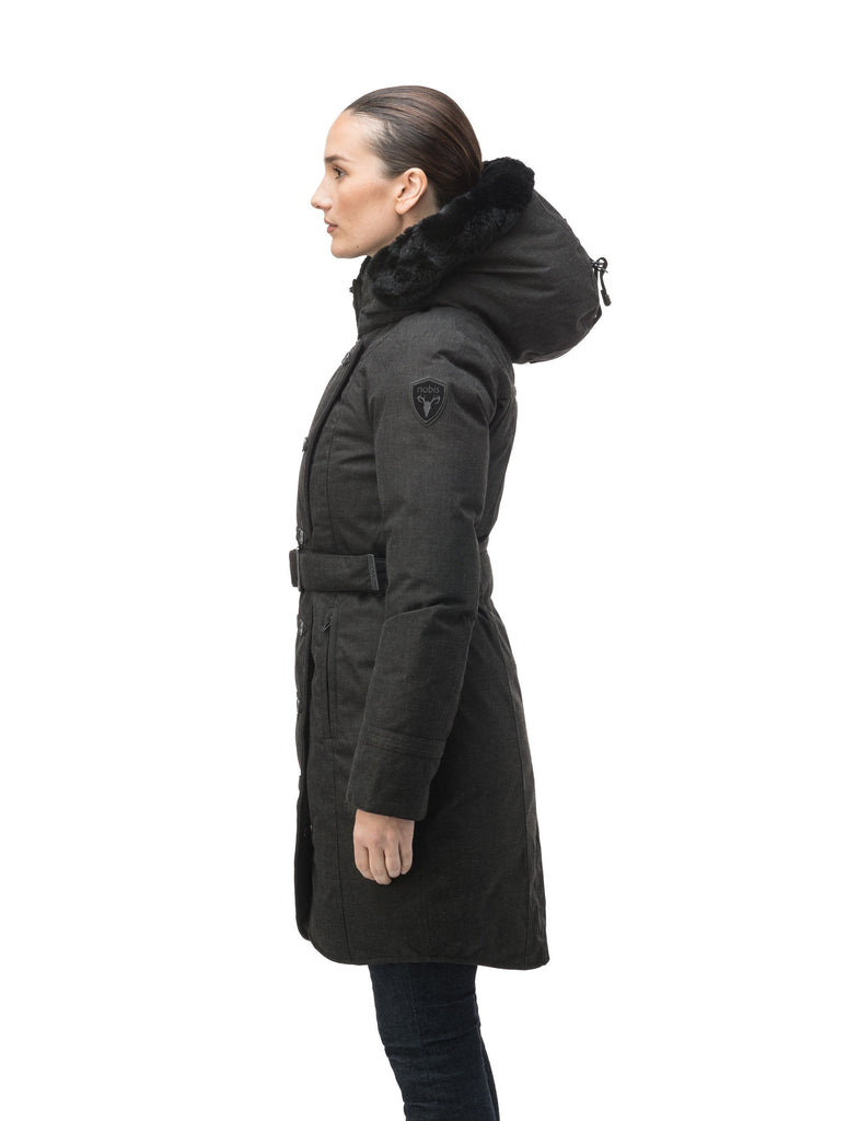 Women's down filled calf length parka with belted waist, and removable Rex Rabbit fur collar in H. Black