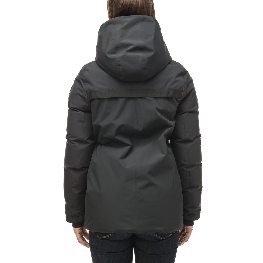 Hip length, reversible women's down filled jacket with waterproof exposed zipper in Black