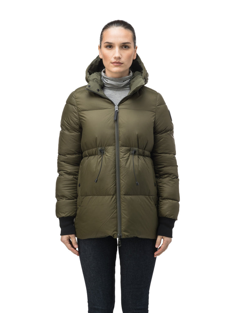 Hip length, reversible women's down filled jacket with waterproof exposed zipper in Fatigue