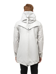 Men's hooded rain coat with hood in Light Grey