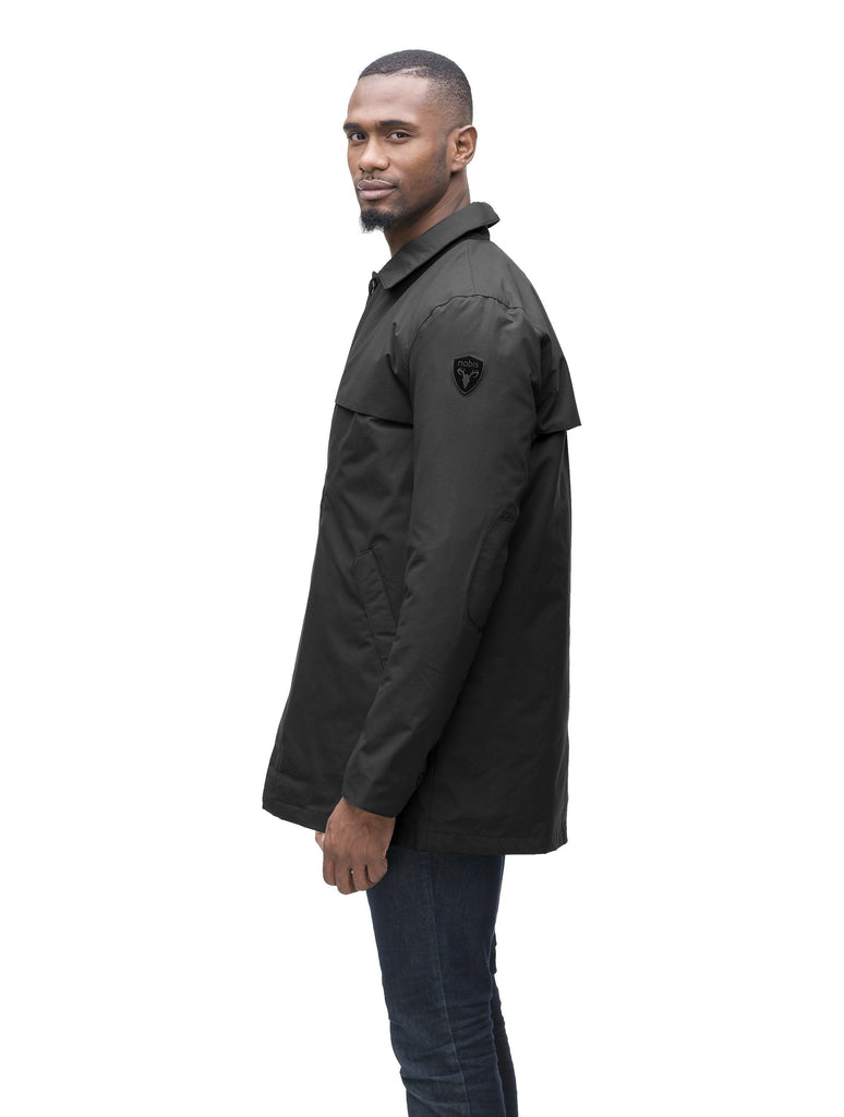 Men's waist length raincoat with a magnetic placket and top button detail in Black