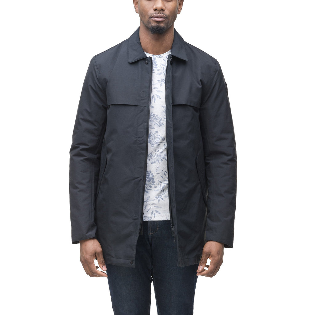 Men's waist length raincoat with a magnetic placket and top button detail in Navy