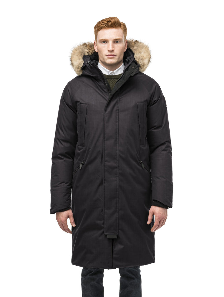 This ankle length men's down filled parka doubles as an over coat with a removable fur trim on the hood in Black