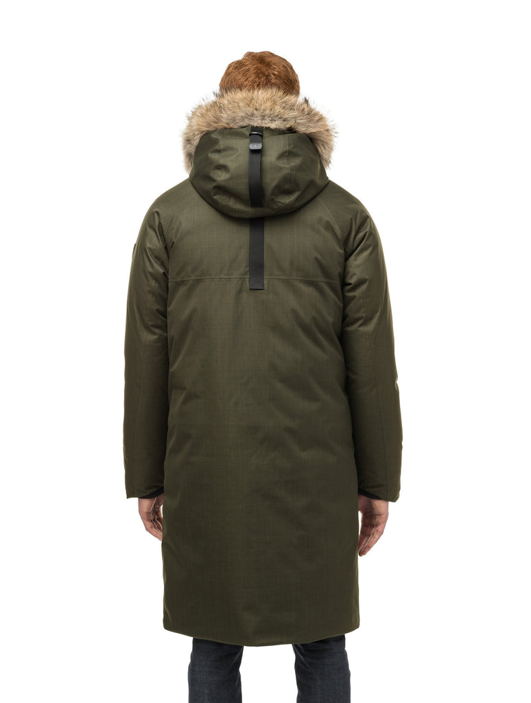 This ankle length men's down filled parka doubles as an over coat with a removable fur trim on the hood in Fatigue