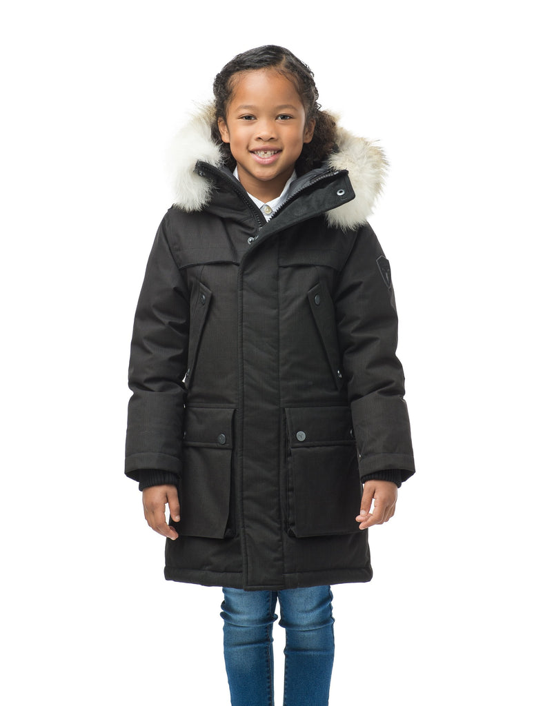 The best kid's down filled parka that's machine washable, waterproof, windproof and breathable in CH Black