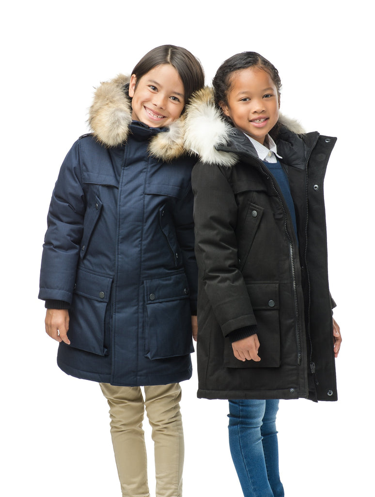 The best kid's down filled parka that's machine washable, waterproof, windproof and breathable in CH Navy or CH Black