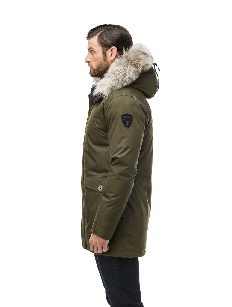 Men's slim fitting waist length parka with removable fur trim on the hood and two waist patch pockets in CH Fatigue