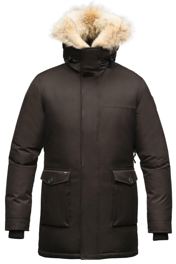 Men's slim fitting waist length parka with removable fur trim on the hood and two waist patch pockets in CH Brown