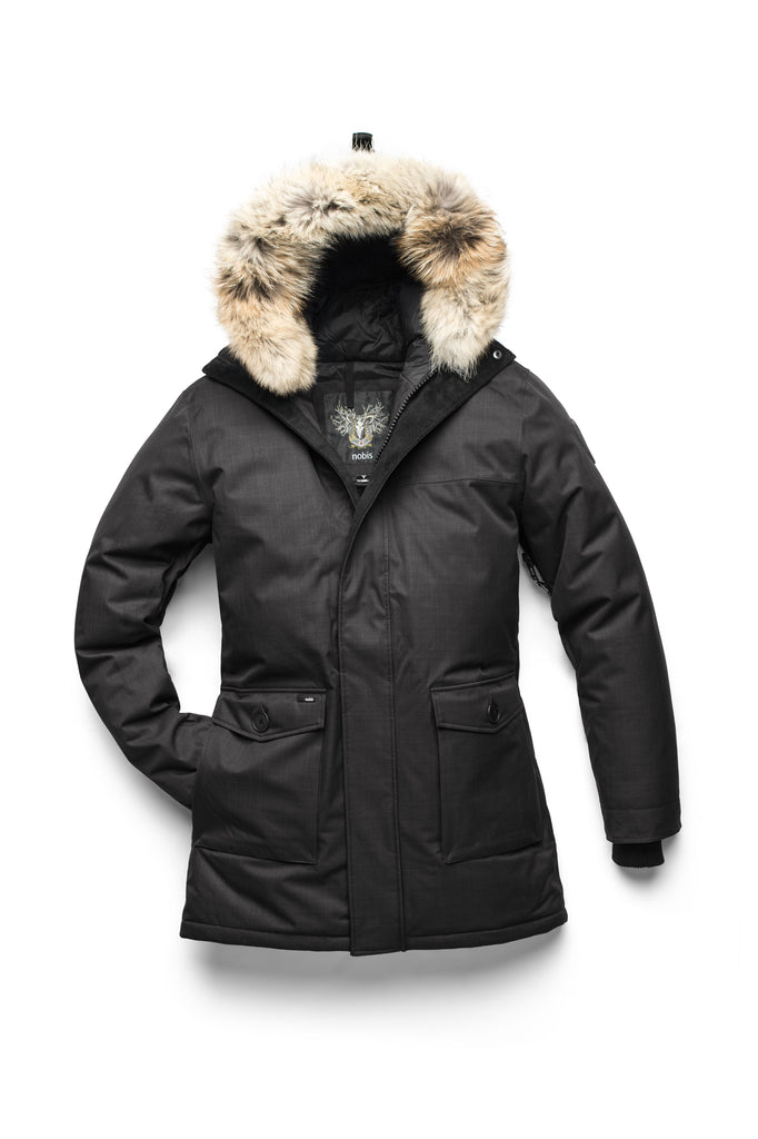 Men's slim fitting waist length parka with removable fur trim on the hood and two waist patch pockets in CH Black