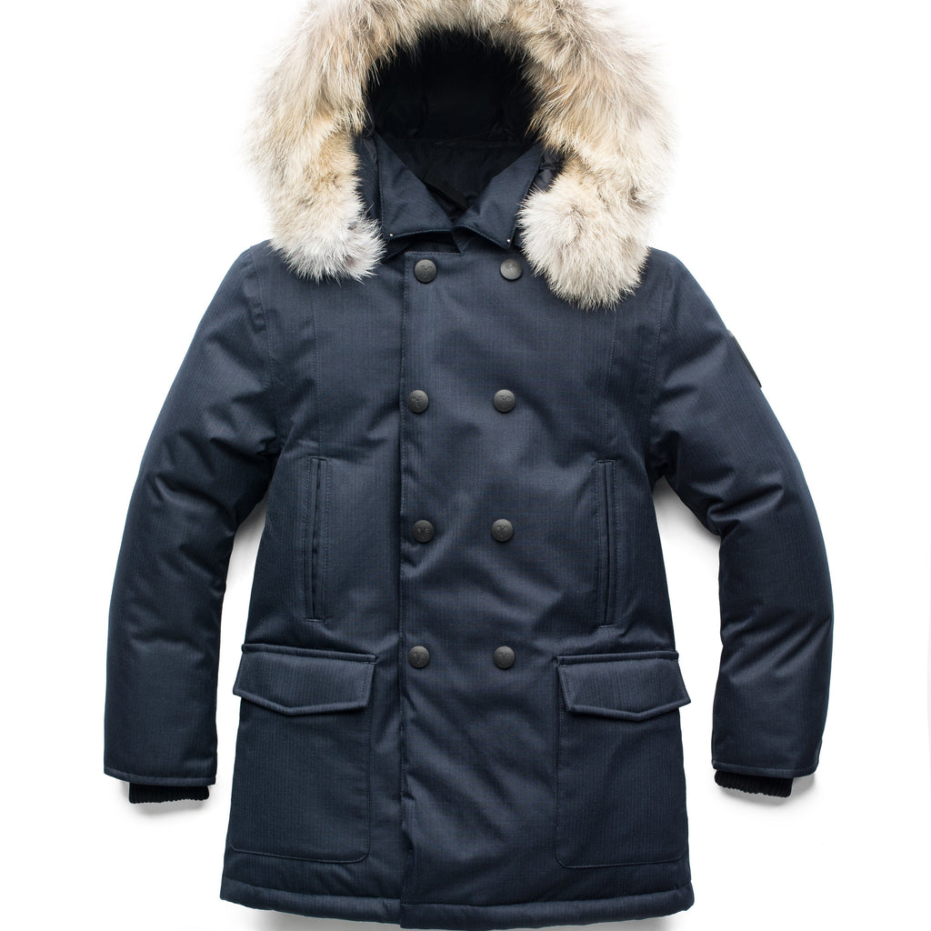 Down filled kid's parka with double breasted closure in Navy