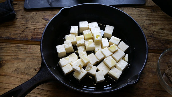 Feta Cheese on Skillet