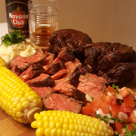 Ribeye Cap Steak Spinalis served with Mashed Potatoes and Corn on the Cob
