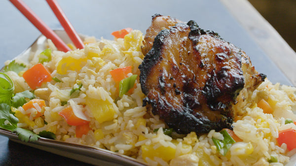 grilled chicken pineapple fried rice ready to serve