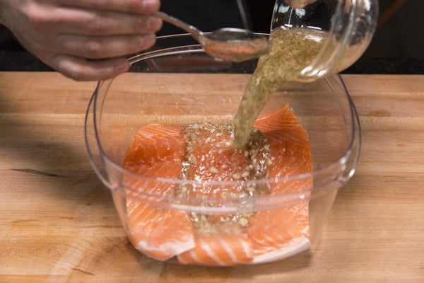 marinating the salmon