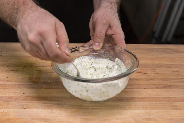 preparing the tarragon sauce