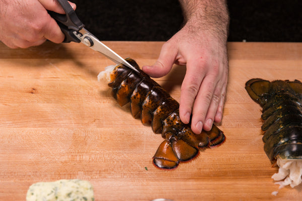 cutting the lobster tails