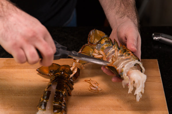 cutting the lobster's little legs