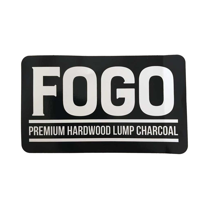 Fogo Sticker 5 x 3 White on Black FOGO - Outdoor Vinyl - FogoCharcoal.com