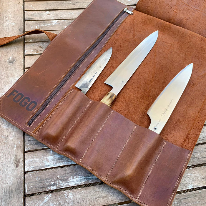 FOGO Leather Chef Knife Roll (5 knives)