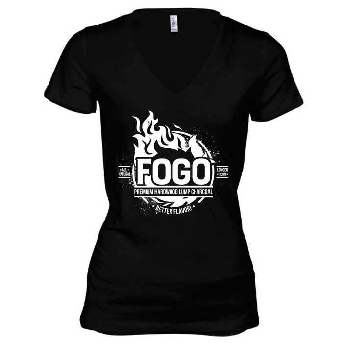 Ladies Deep V Black T-Shirt with Fogo Logo (Black&White) - FogoCharcoal.com - 1