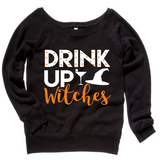 Drink Up Witches Black Womens Off Shoulder Sweatshirt