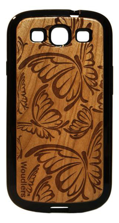 Butterfly Pattern Wooden Galaxy s3 Case - Galaxy s3