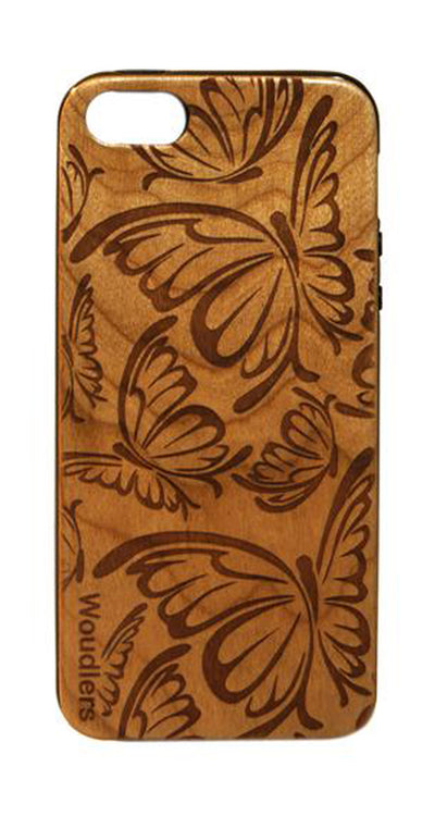 Butterfly Pattern Wooden iPhone 5/5s Case - iPhone 5/5s