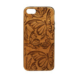 Butterfly Pattern Wooden iPhone SE Case - iPhone SE